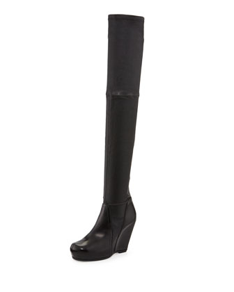 Leather Over-the-Knee Stretch Wedge Boot, Black