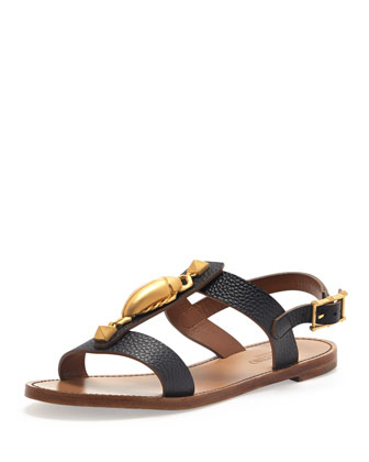 Scarab Leather T-Strap Sandal, Black