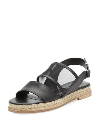 Double Band Flat Espadrille Sandal, Black
