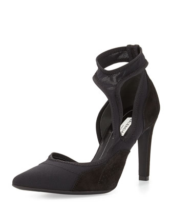 Mesh Point-Toe Cutout Pump, Noir