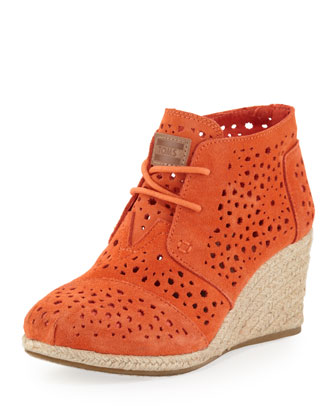 Moroccan Cutout Suede Wedge Boot, Orange