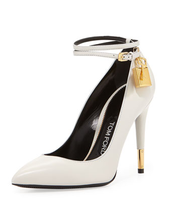 Leather Ankle-Lock Pump, Ivory