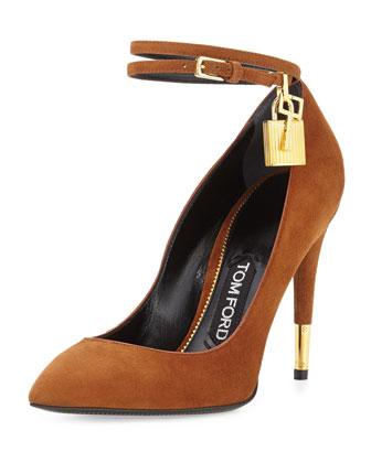Suede Ankle-Lock Pump, Caramel