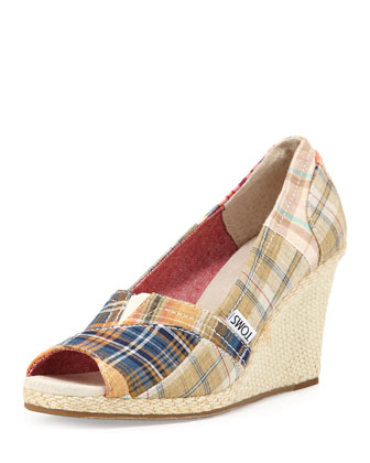 Classic Open-Toe Plaid Wedge, Multi