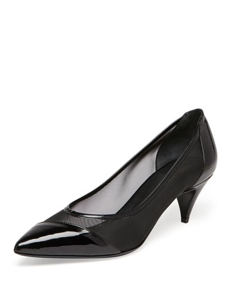 Patent and Mesh Kitten-Heel Pump