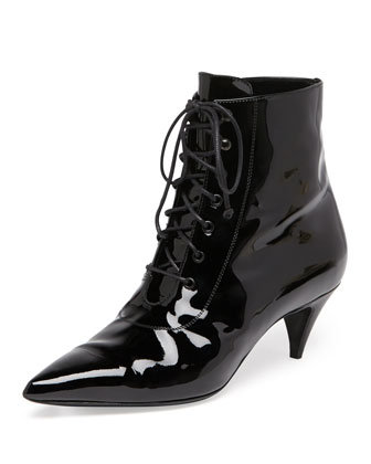Patent Lace-Up Kitten-Heel Bootie, Black