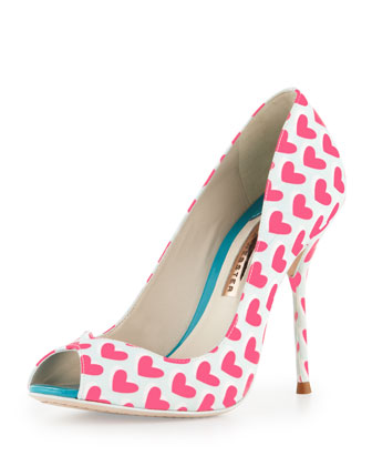 Peron Hearts Peep-Toe Pump, Lake Blue/Pink