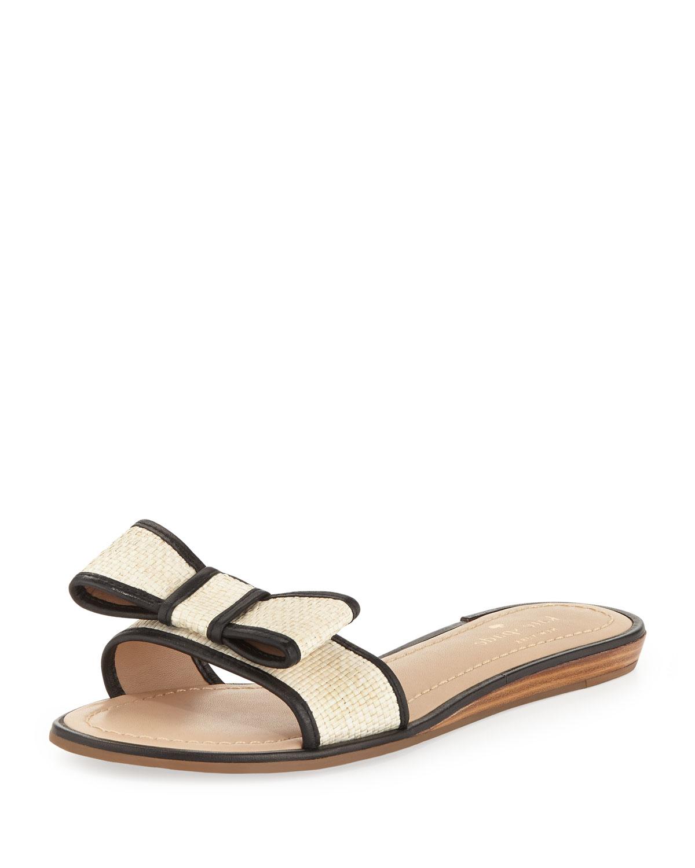ardes raffia bow slide sandal, black   kate spade new york   Black (37.0B/7.0B)
