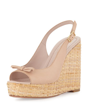 Della Leather Wedge Sandal, Pale Pink