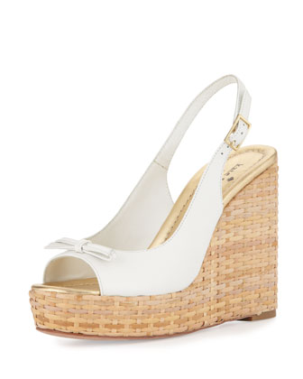 Della Leather Wedge Sandal, White