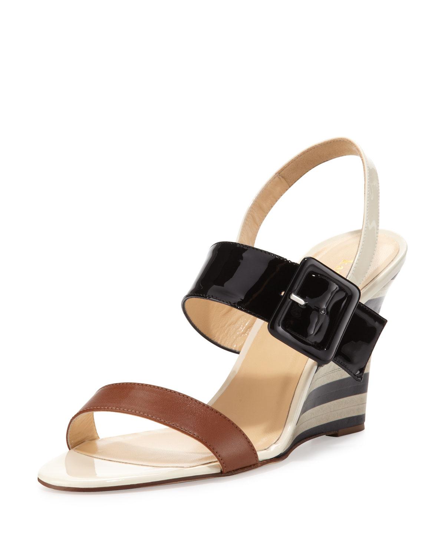 isola striped wedge sandal, luggage   kate spade new york   Luggage (38.5B/8.5B)