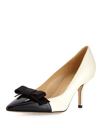 janira cap-toe leather bow pump, cream