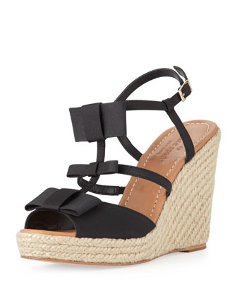 juju bow-strap espadrille wedge, black