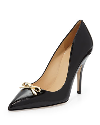 landy bow pointy-toe pump, black