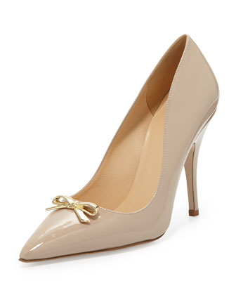 landy bow pointy-toe pump, powder