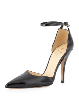 lilliana patent point-toe pump, black