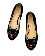 Kiss Me Kitty Velvet Slipper, Black