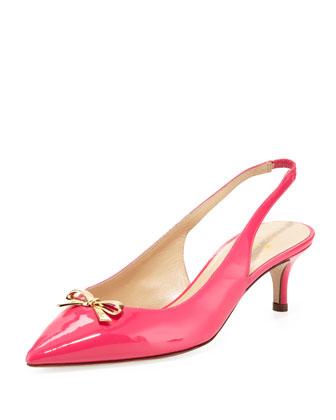 salvia patent bow slingback, lipstick pink