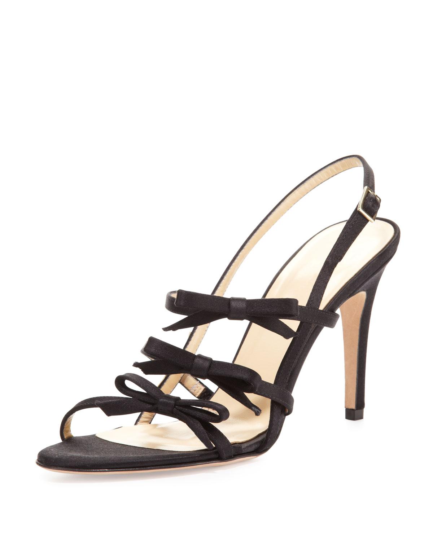 sally strappy bows satin sandal, black   kate spade new york   Black (35.5B/5.