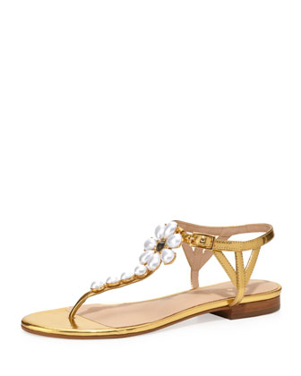 shelby pearly flower thong sandal, gold