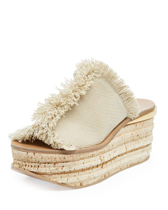 Fringe Canvas Cork Slide Wedge