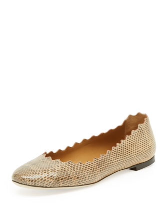 Scalloped Snake Ballerina Flat, Medium Beige