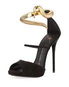 Snake-Ankle-Wrap Suede Sandal