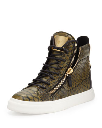 Snake-Print Zip High-Top Sneaker, Green