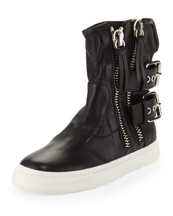 Biker Jacket High-Top Sneaker, Black