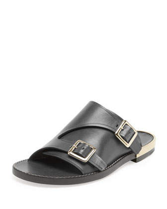 Double-Buckle Flat Leather Sandal, Black