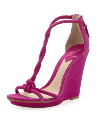 Pricilla Wedge Sandal, Fuchsia