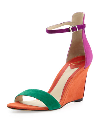 Roberta Suede Wedge Sandal, Orange