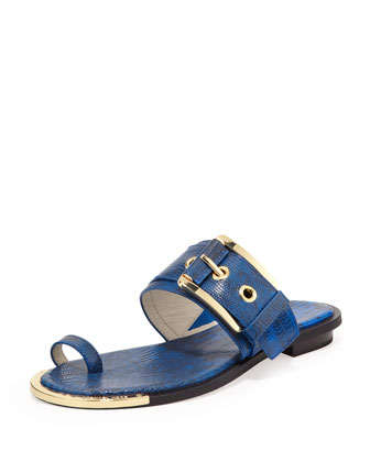 Calder Lizard-Embossed Buckle Sandal