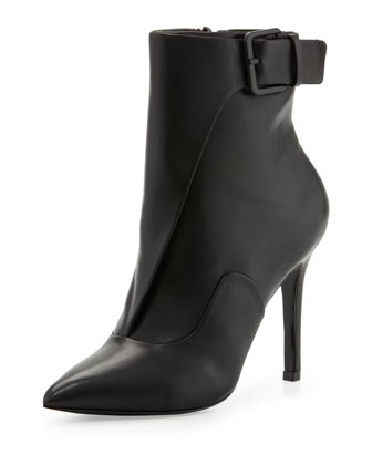 Carrigan Leather Belted Bootie, Black