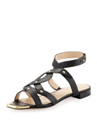 Kassia Golden-Studded Casual Sandals, Black