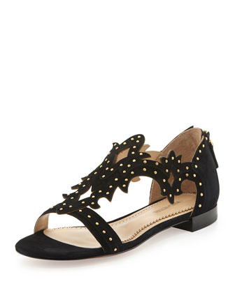 Studded Suede Cutout Sandal, Black