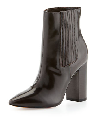 Lizette Pointy-Toe Dress Bootie, Chocolate