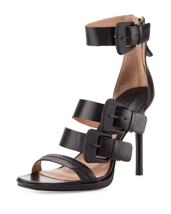 Macey Triple-Buckle Strap Sandal, Black