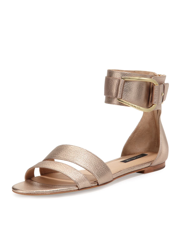 Gabi Metallic Ankle Strap Sandal, Rose Gold   Rachel Zoe   Rose gold (36.5B/6.