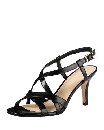 Barlett Air Crisscross Leather Sandal, Black
