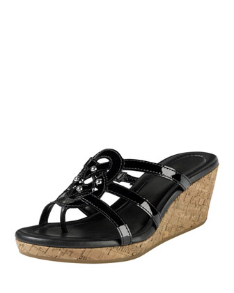 Shayla Patent Thong Wedge Sandal, Black