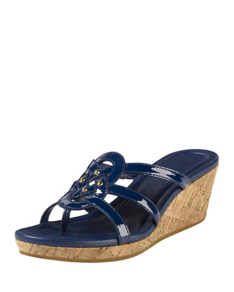 Shayla Patent Thong Wedge Sandal, Blazer Blue