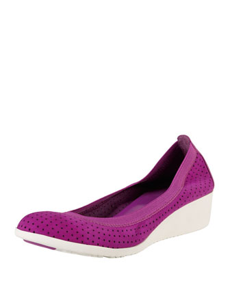 Gilmore Perforated Suede Wedge, Viola