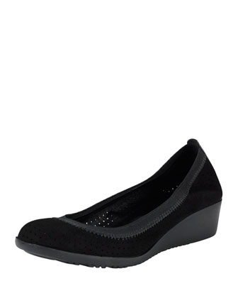 Gilmore Perforated Suede Wedge, Black