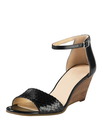 Rosalin Woven Wedge Sandal, Black