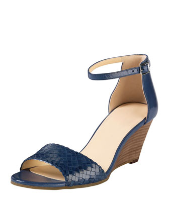 Rosalin Woven Wedge Sandal, Blue