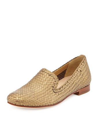 Sabrina Woven Metallic Loafer, Gold