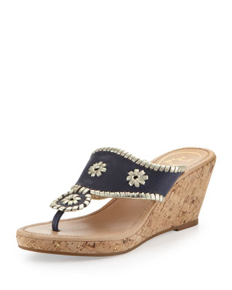 Marbella Leather Wedge Sandal, Navy/Platinum