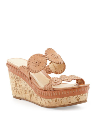 Leigh Cork Wedge Slide, Cognac