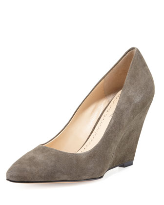Maia Suede Wedge Pump, Charcoal